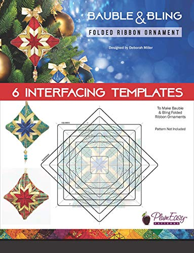 PlumEasy Patterns PEP222 Bauble & Bling Folded Ribbon Ornament Template 6pk Pattern