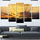 Designart MT12939-373 Sunset in Africa with Acacia Tree - Extra Large Landscape Glossy Metal Wall Art,Black,60x32