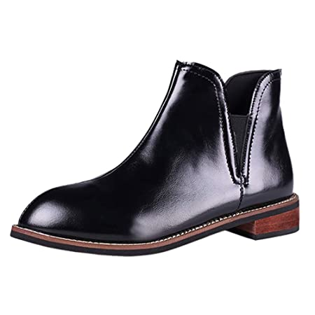 cc1d4c8ca15b9 ZHRUI Liquidación Moda para Mujer Cremallera Martin Botas Botines de Cuero  Scrub Block Heel Shoes (Color   4-Brown