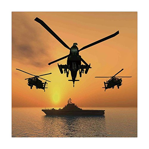 Square Battle Flag (iPrint Satin Square Tablecloth,War Home Decor,Battle Helicopter over the Ocean Sea and Aircraft Carrier on Combat Art Photo,Orange,Dining Room Kitchen Table Cloth Cover)