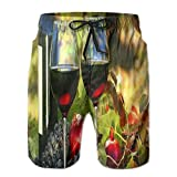 GAMSJM Wineglasses Color Print Classic Men's Beach Pants Jogger Shorts Swimming Trunks