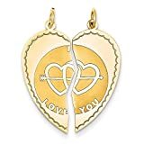 14k Yellow Gold Break-apart I Love You Charm XAC500