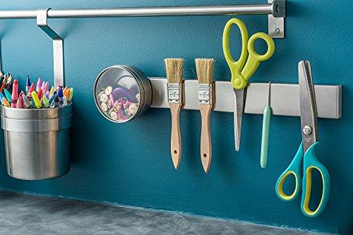 Modern Innovations 16 Inch Stainless Steel Magnetic Knife Bar with Multipurpose Use as Knife Holder, Knife Rack, Knife Strip, Kitchen Utensil Holder, Tool Holder, Art Supply Organizer & Home Organizer by Modern Innovations (Image #3)