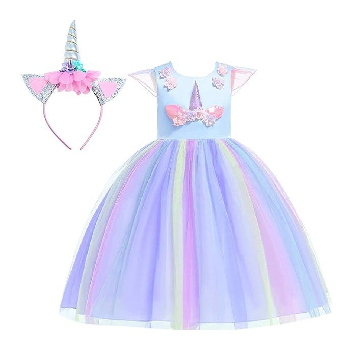 Bmeigo Vestido de Princesa Niña Chicas Disfraz Lujoso Equipar para Actuación Ceremonia Flores Carnaval Fiesta de Cosplay 3-9Y