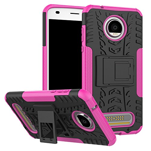 to Z2 Force Case, UZER Shockproof Hybrid Slim Dual Layer Rugged Rubber Hybrid Hard/Soft Impact Armor Defender Full Body Protective Case With Kickstand for Moto Z2 Play 2017 Model ()
