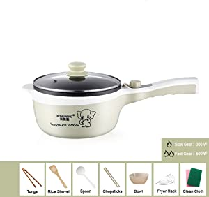 110V frying pan with lid 4-IN-1 indoor multifunctional non-stick frying pan for slow cooking, steam, small fire, cooking with temperature control and tempered glass lid (Electric Skillet, Khaki)