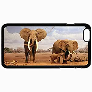 Fashion Unique Design Protective Cellphone Back Cover Case For iPhone 6 Plus Case Elephants With Calf 18526 Black