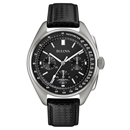 Bulova 96B251 Mens Special Edition Moon Black Leather Strap Watch
