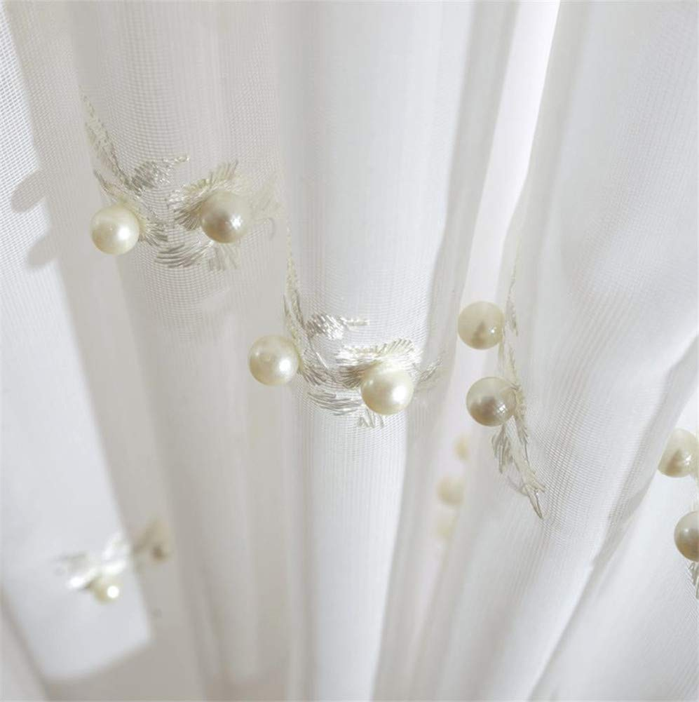 White Pearl Floral Embroidery Curtain Window Treatment Lace Curtains Panel Drapes for Living Room Girls Bedroom Rod Pocket Process 2 Panel W52 x L96 Inch