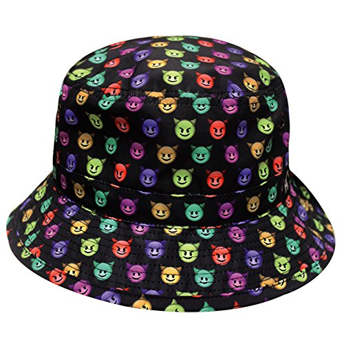 CITY HUNTER Devil Emoji Bucket Hat, Black