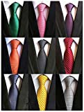 Adulove Men's Necktie Classic Silk Tie Woven Jacquard Neck Ties 6/9 PCS
