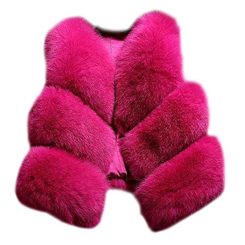 Gilet Vest Garder au Chaud Manteau en Fausse Fourrure sans Manche pour Femmes Rose