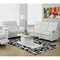 Monarch 2 Piece Button Tuft Reclining Glider Sofa Set in White