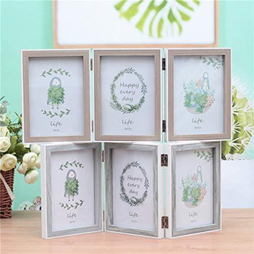 (Glass figurines Picture Frame - 6/7 Inch 3 Picture Frame Modern Hinged Folding Triple Photo Frames Desktop Picture Frame Home Decoration Random Color)