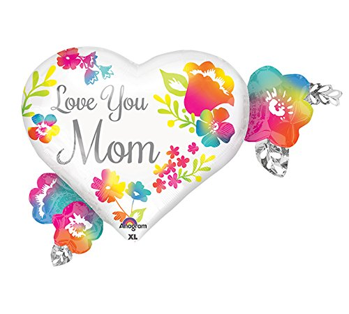 Anagram 32366 Love You Mom Watercolor Foil Balloon, 27