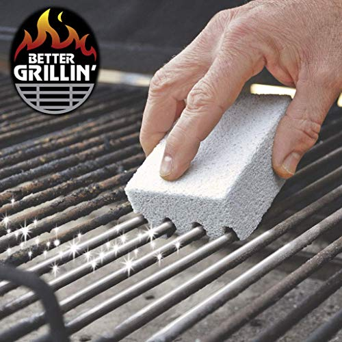 Better Grillin Scrubbin Stone Grill Cleaner-Scouring Brick/Barbecue Grill Brush/Barbecue Cleaner for BBQ, Griddle, 4pk