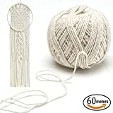 Arts & Crafts : SOTOGO 4 mm 60 Meters (66 yard) Natural Cotton Bohemia Macrame DIY Wall Hanging Plant Hanger Craft Making Knitting Cord Rope,Natural Color