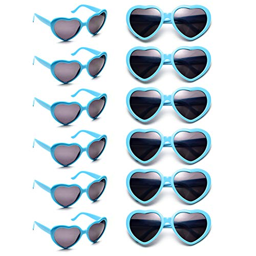 12 Pack Wholesales Heart Shape Design Neon Colors Cute Love Sunglasses for Birthday, Bachelorette, Sunmmer Vacation Parties 100% UV Protection Eyewear for Women and Girls (blue)