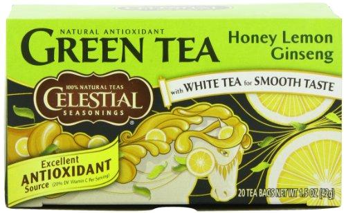 Celestial Seasonings Honey Lemon Ginseng thé vert, 20 comte (Pack de 6)