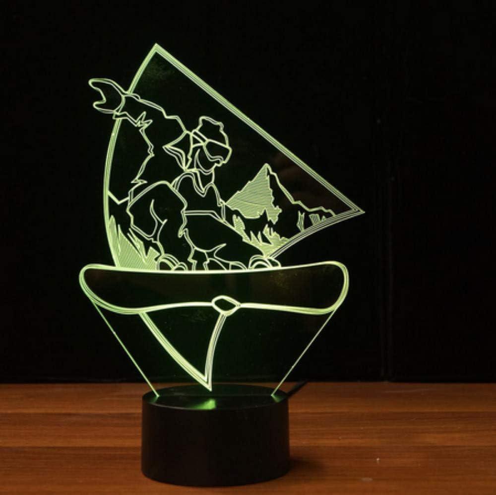 Novedad snowboard 3D LED luz de la noche usb visual lámpara de mesa sueño del bebé accesorio de luz dormitorio junto a la cama decoración para el hogar regalos