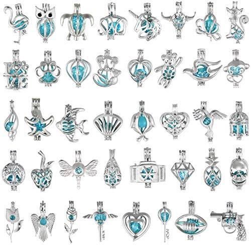 35 Pcs Kids Gift Christmas Pearl Bead Cage Pendant Charms for Jewelry Making (NO-Duplicate,Premium Copper, Rhodium Plated)
