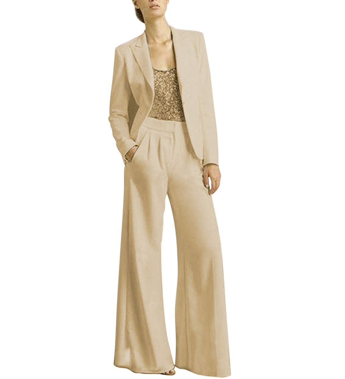Champagne TBB Women's 2 Pieces Mother of The Bride Dress Pant Suits with Polyester Jacket Office Lady