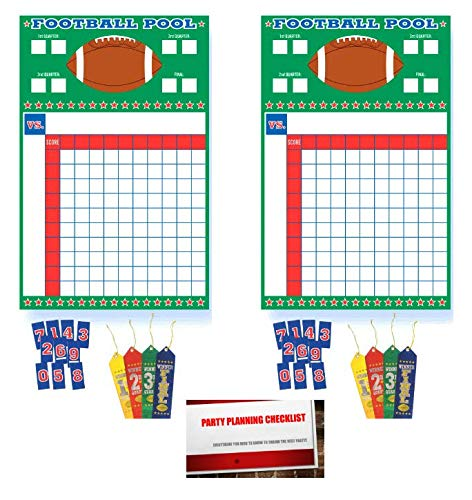 (2 Pack) Football Super Bowl Sunday NFL College Office Pool Frenzy Monday Game Night Sheet with Ribbons (Plus Party Planning Checklist by Mikes Super -