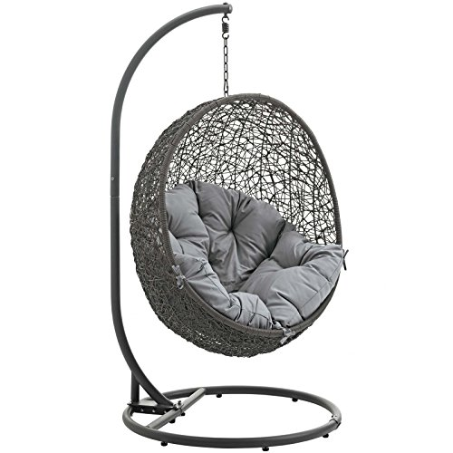 - Modway EEI-2273-GRY-GRY Hide Wicker Rattan Outdoor Patio Balcony Porch Lounge Egg Swing Chair Set with Stand Gray