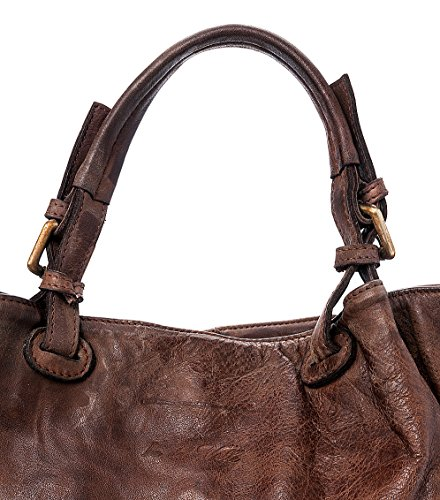 Made Ira Sac Vintage main Caraibica del Moutarde femme à Brun in Vrai Italy Foncé cuir Valle Model wPqRwp