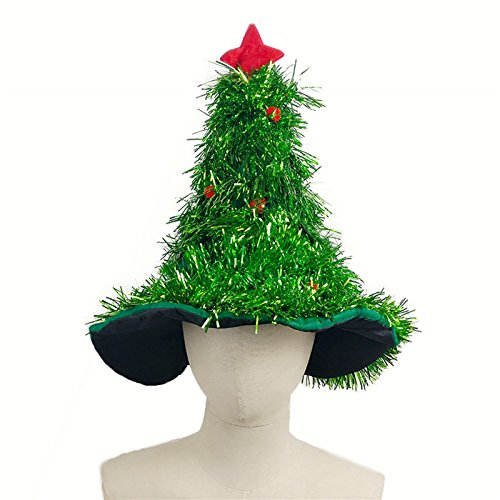 Cheap Xmas Fancy Dress Costumes (Puraid(TM) Tinsel Christmas Tree Hat On 1pc Headband Father Christmas Xmas Party Santa Fancy Dress Costume Hat Holiday decorations Headgear)