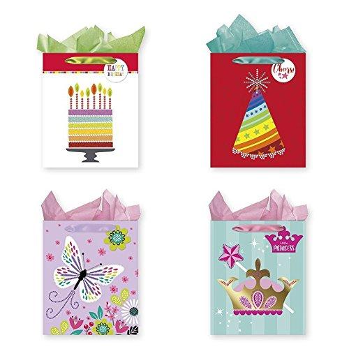 Gem Embellishment (Pack of 4 Large Party Gift Bags with Multiple Gem Embellishment On Each Bag, Celebratory)