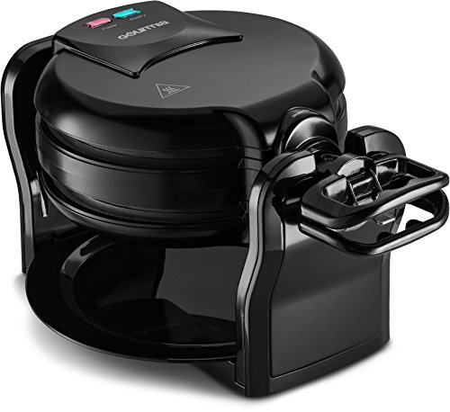 Gourmia GWM490 Belgian Waffle Maker - Double Waffles - Extra Deep - Fast & Easy - 180 Degree Flipping - Brushed Stainless Steel - Nonstick Plates - Black - Free Recipe Book