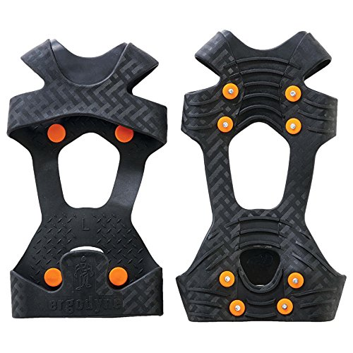 Ergodyne TREX 6300 Traction Cleat Grips Ice and Snow, One-Piece Easily Attaches Over Shoe/Boot with Carbon Steel Spikes to Provide Anti-Slip Solution, Medium ()