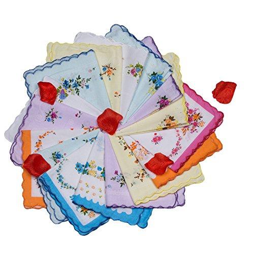 Vintage Floral Hanky for Wedding Tea Party Ladies Cotton Handkerchiefs by ISHER Printed Handkerchiefs in Bulk (6 pcs)