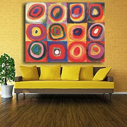 zzlzjj Carteles Abstractos de Wassily Kandinsky, Lienzo de Pintura, Arte de Pared Impreso para Sala de Estar, círculos Rojos, Cuadros Decorativos de 40x60 cm
