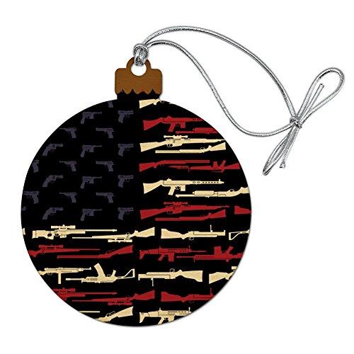 GRAPHICS & MORE American Gun Flag USA Second 2nd Amendment Wood Christmas Tree Holiday ()