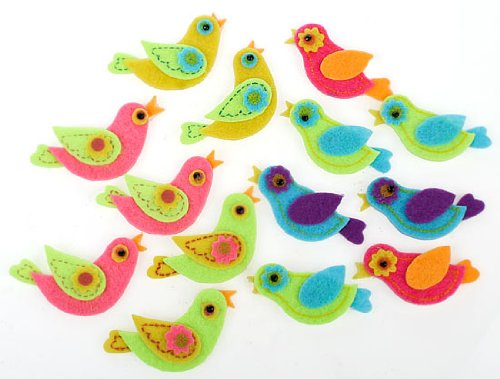 Felt Bird - Fun Self Adhesive Dimensional Felt Partridge Style Colorful Bird Stickers for Crafting and Embellishing- Package of 56