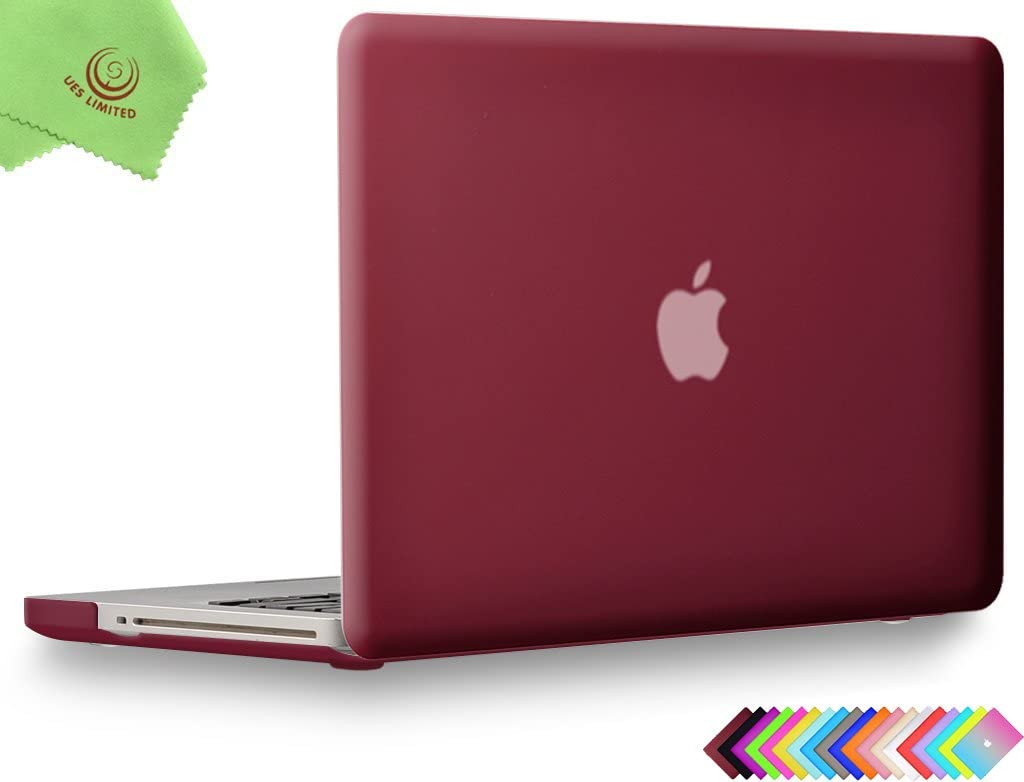 UESWILL Smooth Matte Hard Shell Case Cover for MacBook Pro 13 inch with CD-ROM (Non-Retina) (Model A1278) + Microfibre Cleaning Cloth, Wine Red