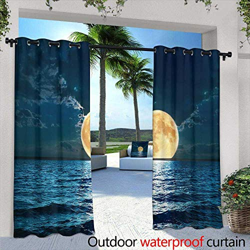 Fashions Drape,Sundown Themed Blurry Background with hex Grid,W72 x L84 Outdoor Patio Curtains Waterproof with Grommets