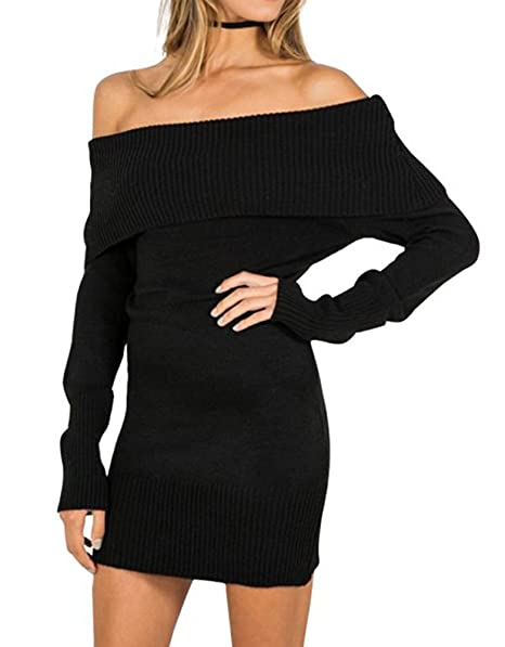 FORTULY Womens Sexy Off Shoulder Long Sleeve Mini Pencil Bodycon Knitted  Sweater Dress (Black)
