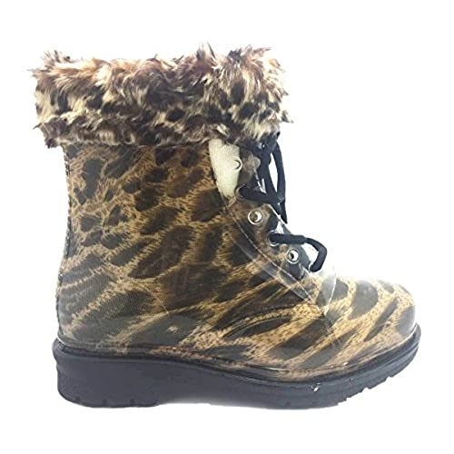 Water Proof Round Toe Ankle High Jelly Warm Snow Rain Boots Yellow Leopard