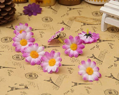 100Pcs Artificial Flowers Wholesale Fake Flowers Heads Gerbera Daisy Silk Flower Heads Sunflowers Sun Flower Heads for Wedding Party Flowers Decorations Home D¨¦cor Purple (Daisy Purple Flower)