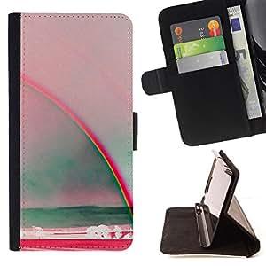 BullDog Case - FOR/Apple Iphone 5 / 5S / - / rainbow art sun summer sea red teal /- Monedero de cuero de la PU Llevar cubierta de la caja con el ID Credit Card Slots Flip funda de cuer
