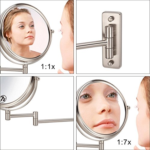 IBeaty Bathroom Mirror 8 inch Wall Mount Makeup Mirror Double-Sided Face Mirror, Swivel Vanity Mirror 1x and 7x Magnification Polished Chrome Finished by IBeaty (Image #5)