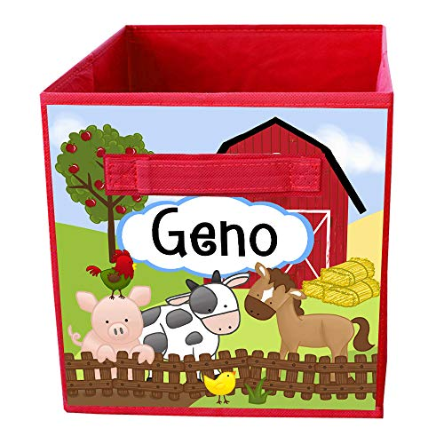 Toad and Lily Farm Animal Barnyard Horse Cow Sheep Pig Fabric BIN Boy's Personalized Bedroom Baby Nursery Organizer for Toys or Clothing FB0049