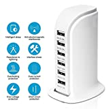 USB Desktop Charger 6-Port USB Charging Station High Speed Hub Charging Dock with Quick Charge 2.1 for Galaxy S7/S6/Edge, Note 5, iPhone X/8/7 Plus, iPad, LG, Nexus 6, HTC White