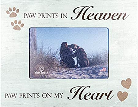 Paw Prints In Heaven Paw Prints On My Heart Dog Pet Horizontal Distressed Wood Picture Frame Holds 4x6 Photo Single Frames Amazon Com