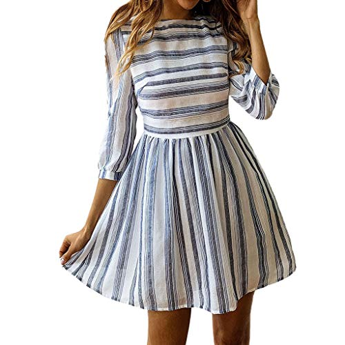 FORUU Mother's Day Teen Girls Under 5 Surprise Best Gift for Girlfriend Lover Wife 2019 Spring Summer Women's Spring and Summer Fashion Casual Wild Print Striped Round Women Dress -