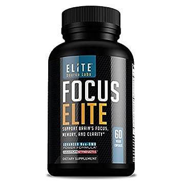 Focus Elite Brain Support Supplement - Natural Nootropics Brain Health  Vitamins & Herbs Support Focus,