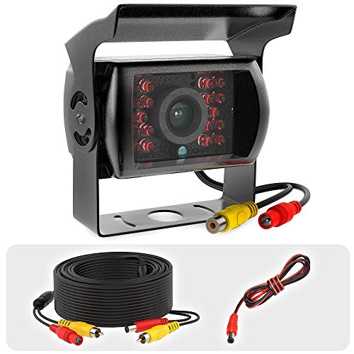 Truck RCA Rear View Backup Camera Heavy Duty - IR Night Vision Waterproof IP68 Wide View Angle 12-24V Rearview Backup Replacement Camera for Trucks with Cable 33ft